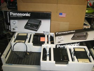 2 Panasonic RR-930 Microcassette Transcriber W/Foot Pedals School Surplus