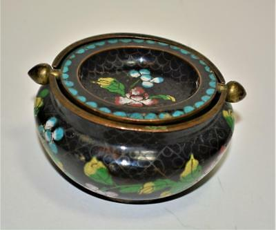 Antique Chinese cloisonne two piece ashtray  / incense holder