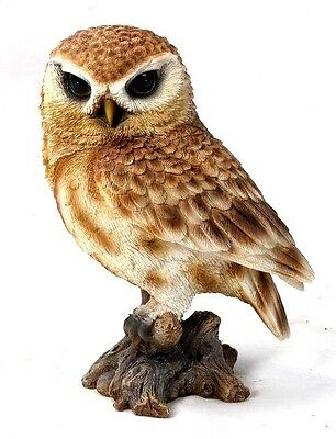 Brown Owl On A Stump New  Realistic Life Like Figurine Statue Home Garden Decor