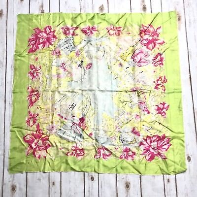 """Vintage Silk Scarf Lime Green Pink Floral Early 1900's People Print 33.5"""" x 35"""""""