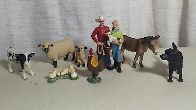 schleich farm lot animal calf rooster chicks people sheep Labrador donkey farmer