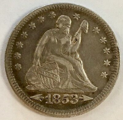 1853 Liberty Seated Quarter - Arrows & Rays - Beautiful Coin