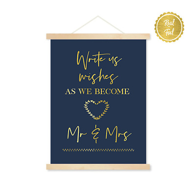 Write us wishes / Wedding signs / Gold & Navy / custom wedding / guest book sign
