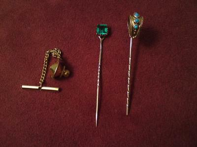 Two Antique Victorian 9ct 15ct Gold pins turquoise blue emerald green gemstone