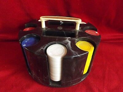 Vintage Retro Poker Chip & Card Holder With Chips Black Swirl Marble Plastic