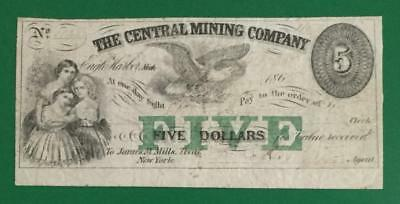 "1863 $5 US Central Mining Company ""New York"" Currency"