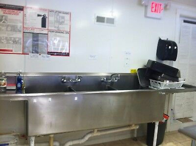 3-BAY SINK with 2 drainboards, 11 feet, used