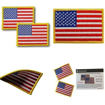 """2 Pack USA US American Flag Embroidered Patch 3.5"""" x 2.5"""" Iron On or Sew Uniform"""