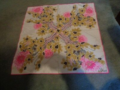 """vintage vera scarf lady bug 26""""sq. White Pink, gold, gray, new only stored"""