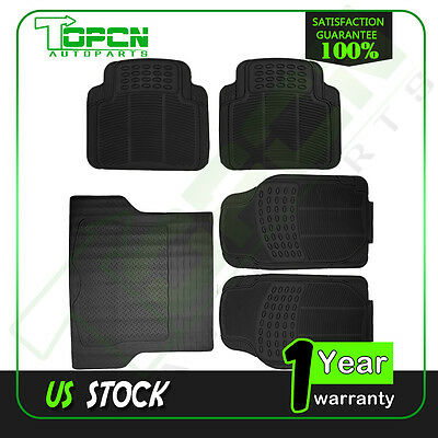 5pc Set All Weather Rubber Black For Volkswagen Ford BMW Floor Mats + Cargo Line