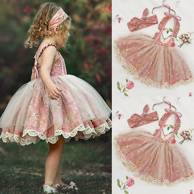 Flower Girl Dress Baby Lace Flower Tulle Princess Party Dress Outfits Sunsuit UK