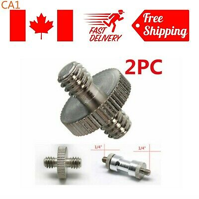 2Pcs 1/4'' Male to 1/4'' Male Threaded Camera Screw Adapter For Tripod Stand