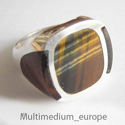 Taxco FDR Mexico Silver Silber Ring Tigerauge signed Pancho Modernist tigers eye