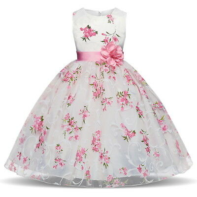 Kids Girls Dress Flower Princess Formal Party Wedding Bridesmaid Prom Size 8 10T