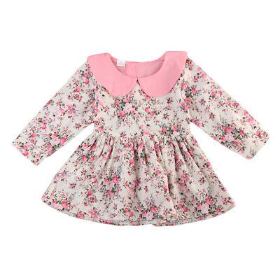 AU Stock Kid Baby Girl Long Sleeve Dresses Toddler Outfit Dress Clothes Sundress