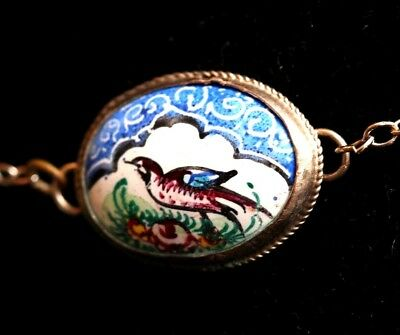 Vintage Porcelain Hand Painted Bird Scene Necklace on Sterling Silver Chain