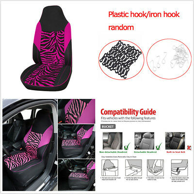 1Pc Rose Red Zebra Print Car Front Seat High Back Bucket Cover Protector Cushion