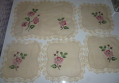 VINTAGE- 5 pce DOILY SET- HAND EMBROIDERED-PINK FLOWERS