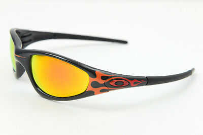 30adafd966 ORIGINAL Oakley Straight Jacket Polished Black w Flames Polarized Fire  Iridium