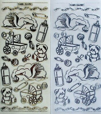 Double Embossed Clear Baby Pram PEEL OFF STICKERS Stork Bottle Rattle Teddy Pin