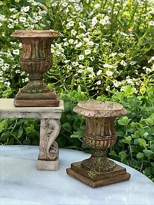 Miniature Dollhouse FAIRY GARDEN Accessories ~ Set/ 2 Round Urns with Moss ~ NEW