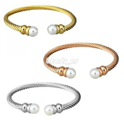Women Men Glass Pearl Stainless Steel Cable Twisted Wire Cuff Bangle Bracelet
