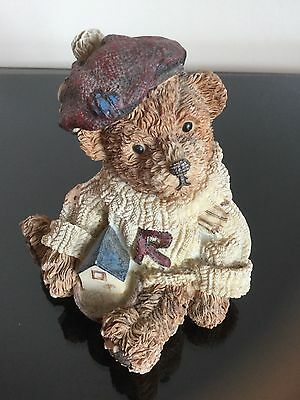 COLLECTABLE Vintage Ceramic Ornament FIGURINE of BEAR wearing a Hat and Jumper i