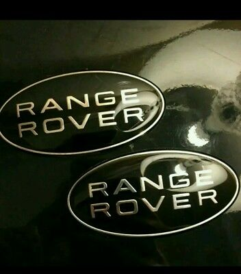SALE!  2 X Range Rover Black & Silver Sport Front Grille Badge Land Rover Black