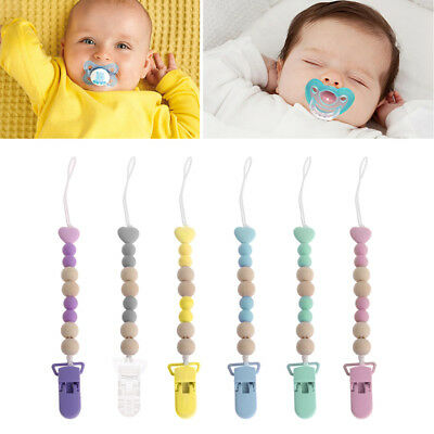 Dummy Clip Holder Pacifier Clips Soother Chains Wooden Bead Teething Toy Baby