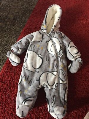 Next Baby Boys 0-3 Months Grey Elephant Print Snowsuit With Mittens