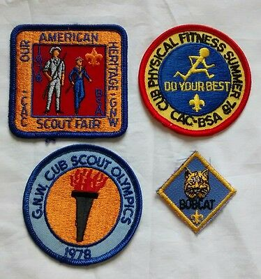 Vintage Boy Cub Scout Patches American Heritage Olympics Fitness 1970s Indiana