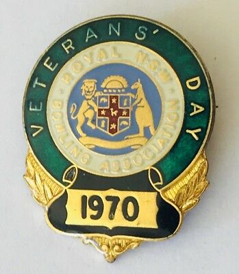 Royal NSW 1970 Veterans Day Bowling Club Pin Badge Rare Vintage (L3)