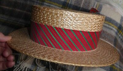 Men's traditional straw boater, vintage hat, Dunn & Co.  Size 6 7/8