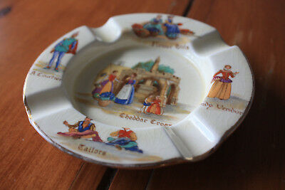 Antique Royal Winton Ashtray Old English Markets dated 1952, crazing