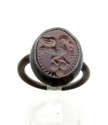 Post Medieval Silver Ring W/ Carved  Carmelian - Wearable - C958