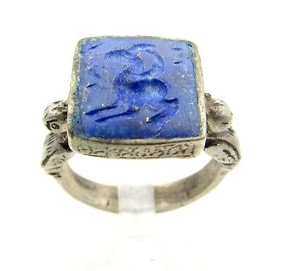 Post Medieval Silver Ring W/ Carved Intaglio Lapis Lazuli Beast - Wearable C960