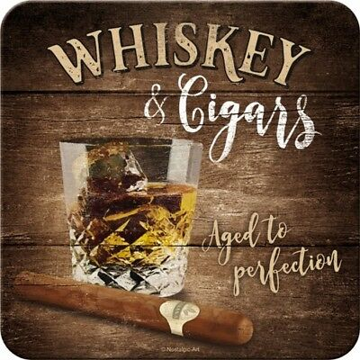 Whiskey and Cigars Whisky Zigarre Blech Untersetzer 9x9 cm Metall Tin Sign USE48