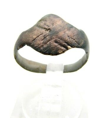 Roman Bronze Legionary Ring W/  X Pattern - Ancient Wearable Lovely - C959