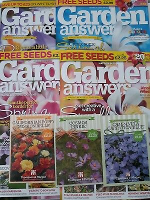 4 Garden Answers Magazines. Feb/mar/april/may 2018 And 3 Packets Of Seeds.