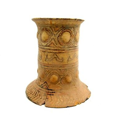 Indus Valley Terracotta Gauntlet W/ Geo  -Extremely Rare W Nipples - L96