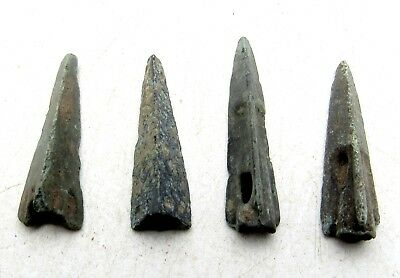 Lot Of 4 Ancient Scythian Bronze Arrow Heads - Ancient Historical Artifacts C976