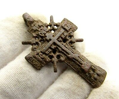 Late Medieval Radiate Bronze Cross Pendant - Superb Artifact Wearable - C983