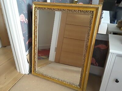 Large Antique Vintage Shabby Chic French Country Style Gold Gilt Mirror.