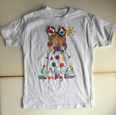 """Colorful T-Shirt """"I'm the Big Sister"""" Size 5 Girls (167)"""