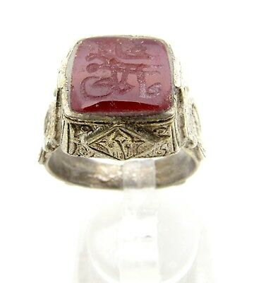 Post Medieval Silver Ring With Carved Intaglio Carnelian Stone Script - C987