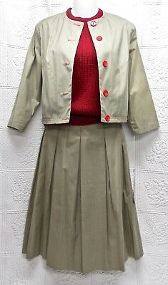 """60's Vintage """"cohama Sportset"""" 3-Pc Ladies Suit-Taupe Poplin-Red Trim & Shell"""