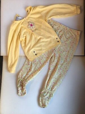 Carters Yellow Spring Flowers Pajama Set Footie Girls Size 18-24 Months (141)