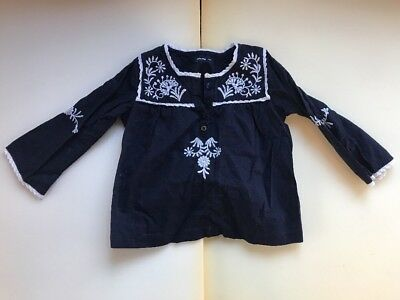 Baby Gap Navy & White Embroidered Top Girls Size 18-24 Months (142)