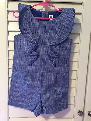 Janie And Jack Blue Tweed-Like Romper, Sz 5 Girls, Awesome And Ln!