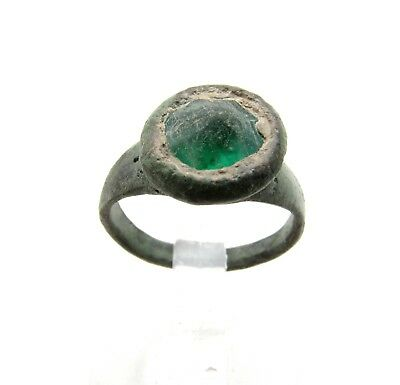 Medieval/saxon Era Ring W/ Green Stone Cross Bezel - Rare Ancient Wearable C993